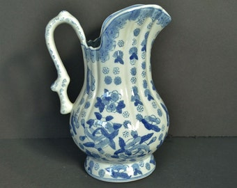 Vintage Andrea Blue and White Pitcher