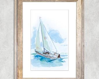 """Sailboat Original Watercolor Painting 4x6"""""""