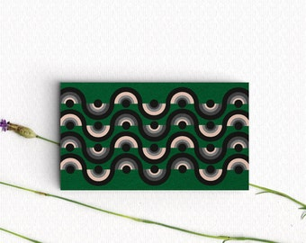 Business Card Design Template- Modernist  Pattern - For professional and small business-  Green Card, Calling Card Design