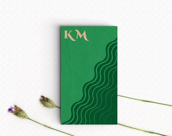 Green Business Card - Premade Design /  Green Calling Card Design / Customisable Template /  Small Business Marketing Tools /