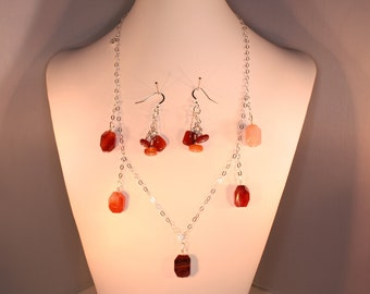 Sterling silver necklace and earring set with agate