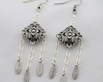 Silver Filigree Romance Earrings