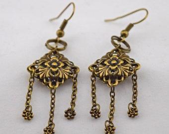 Bronze Filigree Romantic Earrings