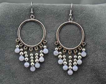 Dreamy Silver Hoop Blue Lace Agate Earrings