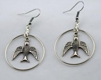 Silver Hoop with Spirit Bird Earrings