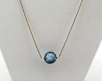 Iridescent Blue Gazing Ball Necklace