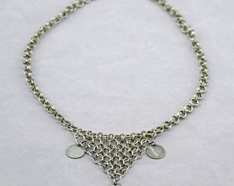 Silver Chainmaille with Disc Accents Necklace