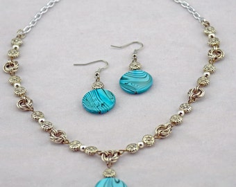 Silver Floral Details with Blue Shell Necklace/Earring Set