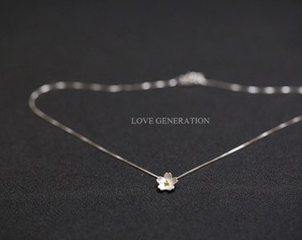 Cherry Flower Necklace – 925 Sterling Silver – Rose Gold Color