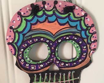 day of the dead style wall art wall hanging dia de los muertos hand painted mexican folk art decor sugar skulls halloween decoration