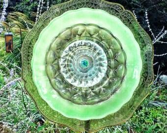 Repurposed, Recycled, Vintage Glass Garden Flower-Green, Yard Art
