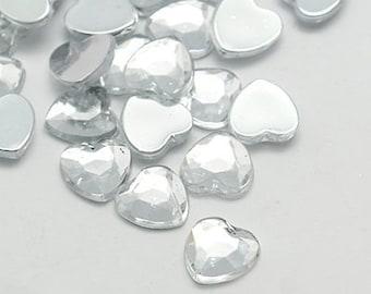 Clear rhinestones - clear heart flatback - 18mm - Valentine crafts - Cute centers - 20 piece crafting hearts - DIY jewelry - DIY hair bows