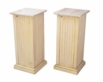 Pair Hollywood Regency Neo-Classical Pedestal Sculpture Stand Cabinets