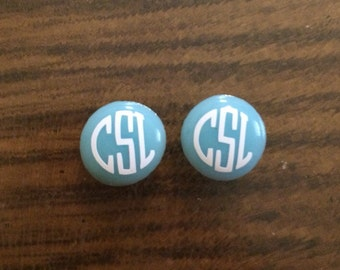 Monogrammed Girl's Earrings