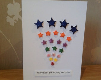 Foster carer thank you card. Rainbow of stars