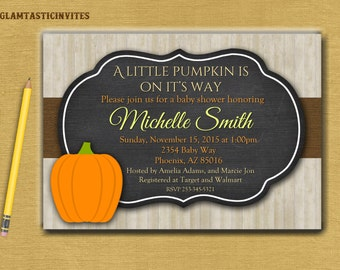 Pumkin Baby Shower Invite, Little Pumpkin Baby Shower Invitation, Fall Baby Shower Invite, Fall Leaves, Fall Tree, Thanksgiving Invitation,