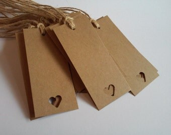 Kraft tags, Heart tags, Kraft heart tags, Blank tags, Gift tags, Rustic tags