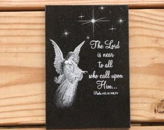 Laser Engraved Granite Tile - Christian Art - Encouragement Scripture - Psalm 145:18 - Christian Gift