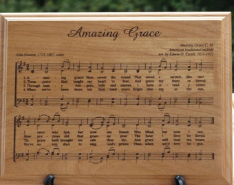 Laser Engraved Wood Plaque Amazing Grace - Christian Art - Engraved Music Plaque - Gift Idea