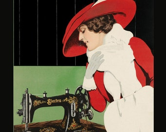 Sewing Fashion Sew Electra Sewing Machine Seamstress Lady American Vintage Poster Repro FREE SHIPPING in USA