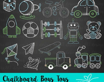 Chalkboard Boys Toys Clipart / Digital Clip Art for Commercial and Personal Use / INSTANT DOWNLOAD