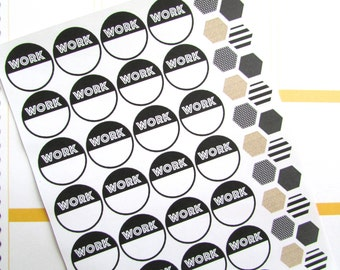 Work Planner Stickers - Black and Gold