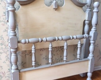 SOLD!-Twin Bed,Bed,Headboard,Painted Furniture,Distressed Furniture,Upcycled Furniture,Vintage Furniture,Repurposed Furniture,Furniture