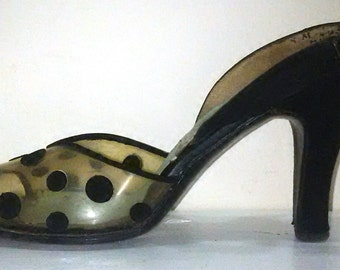 50s Polka Dot Slingback Heels / Size 8 Shoes / Rockabilly Pin Up Hollywood