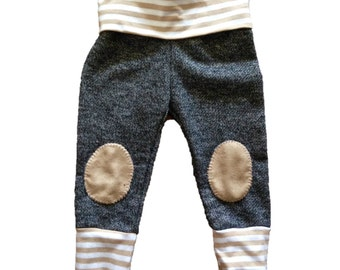 Dark gray heather french terry skinny sweatpants with leather knee patches, baby sweats, knee patches, french terry sweatpants, modern baby