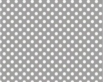 1/2 yd Riley Blake Knit Small Polka Dots Fabric K350-40 GRAY