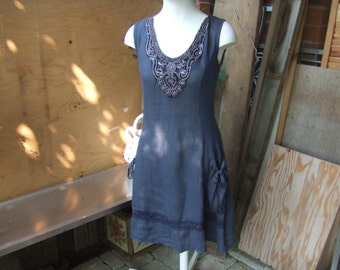 Vintage Blue/Grey Flax Linen Dress. Lagenlook Dress Made in Italy. Side Skirt Pockets. Muted Navy with Metalic Applique. Size M.