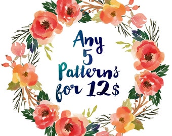 Buy ANY 5 Patterns for 12 Dollars, Cross Stitch Pattern Set Counted Cross Stitch Kit Embroidery Needlework Stitching PDF Digital Download