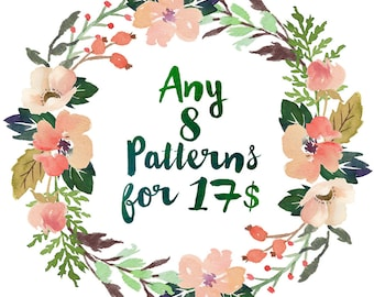 Buy ANY 8 Patterns for 17 Dollars, Cross Stitch Pattern Set Counted Cross Stitch Kit Embroidery Needlework Stitching PDF Digital Download