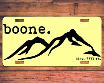 BOONE NC License Plate - Express Yosef! Appalachain State ASU - Mountaineers - App State North Carolina Custom Car Tag - Elev. 3333 ft.