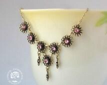 byzantine necklace, flower necklace, pink zircon necklace, chain necklace, lace necklace, greek necklace, greek jewelry, delicate necklace