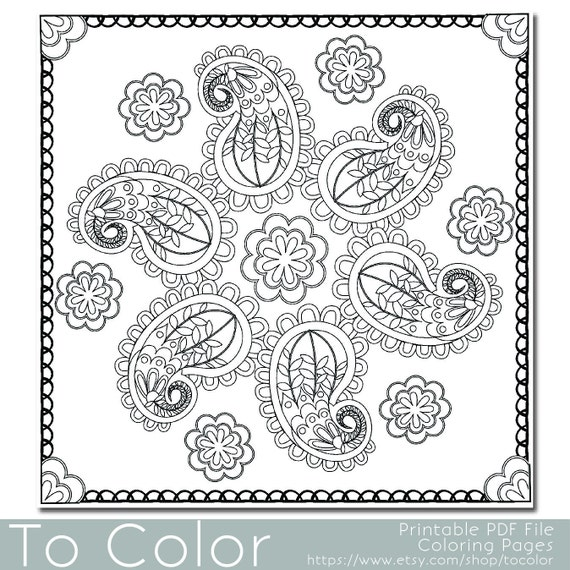 Items Similar To Paisley Pattern1 Printable Coloring Pages
