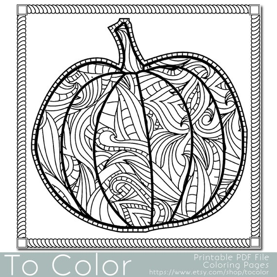 Items similar to Patterned Pumpkin Coloring Page for Adults