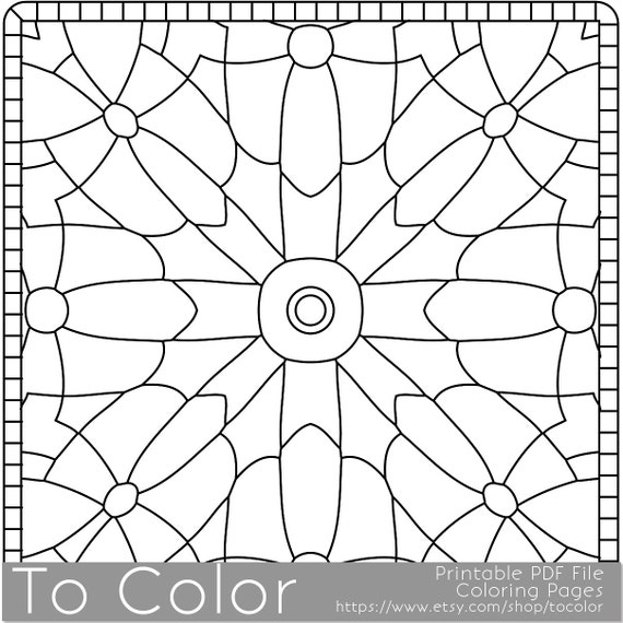 Items similar to printable coloring pages for adults for Square coloring pages