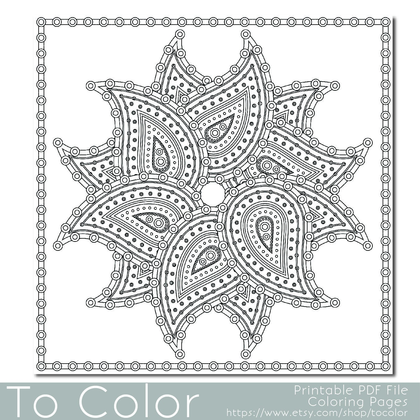 Paisley pattern3 printable coloring pages for adults by for Paisley print coloring pages