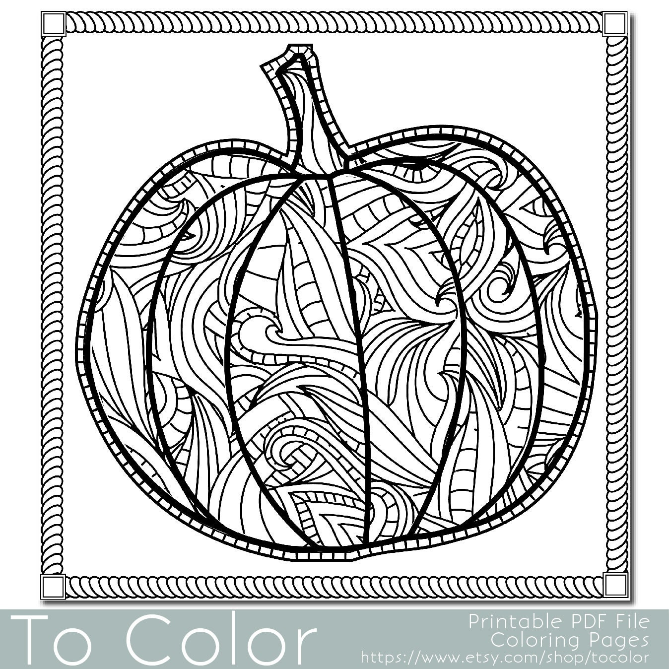 Patterned pumpkin coloring page for adults instant by tocolor for Pumpkin coloring pages for adults
