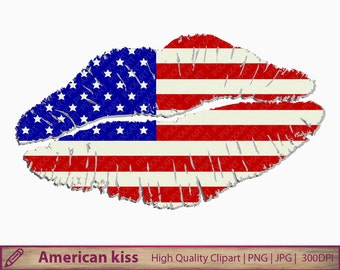 American kiss clipart, USA america lips clipart, patriotic graphics, scrapbooking, commercial use, digital instant download, jpg png 300dpi