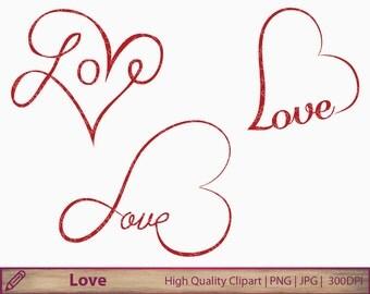 Love clipart, heart clip art, wedding invitation, tattoo design, typography, scrapbooking, digital instant download, jpg png 300dpi