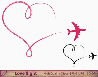 Love clipart, plane clip art, romantic heart wedding invitation, scrapbooking, commercial use, digital instant download, png jpg 300dpi