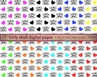 Girly skull digital paper, halloween skull paper, emo skull graphics, scrapbooking, commercial use, digital instant download, png jpg 300dpi