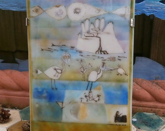 """Glass Wall Art - Fused glass picture in a stainless steel hanging frame titled """"Exotic Island"""""""