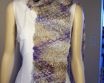 """Purple and tan hand Knitted Silk and Merino Wool 7"""" wide by 54"""" long with 8"""" fringe Scarf"""