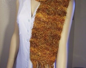 """Golden Topaz hand knitted Silk and Merino Wool 7"""" wide by 54"""" long with 8"""" fringe Scarf"""