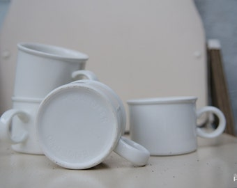 Set of 4 White Ceramic Mugs - Made in Midwinter England