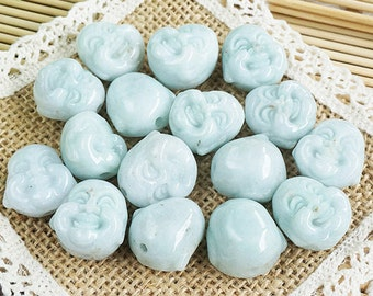 5 pcs Grade A - Smooth Buddha head jade wholesale Diy Jade Beads Genuine Natural Stone bead - 19x21x15mm -