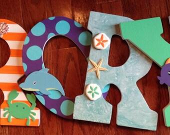 Nautical letters, Letters for nursery, Custom wall letters, Nautical nursery letters, Wall letters, Nursery decor, Nautical home decor